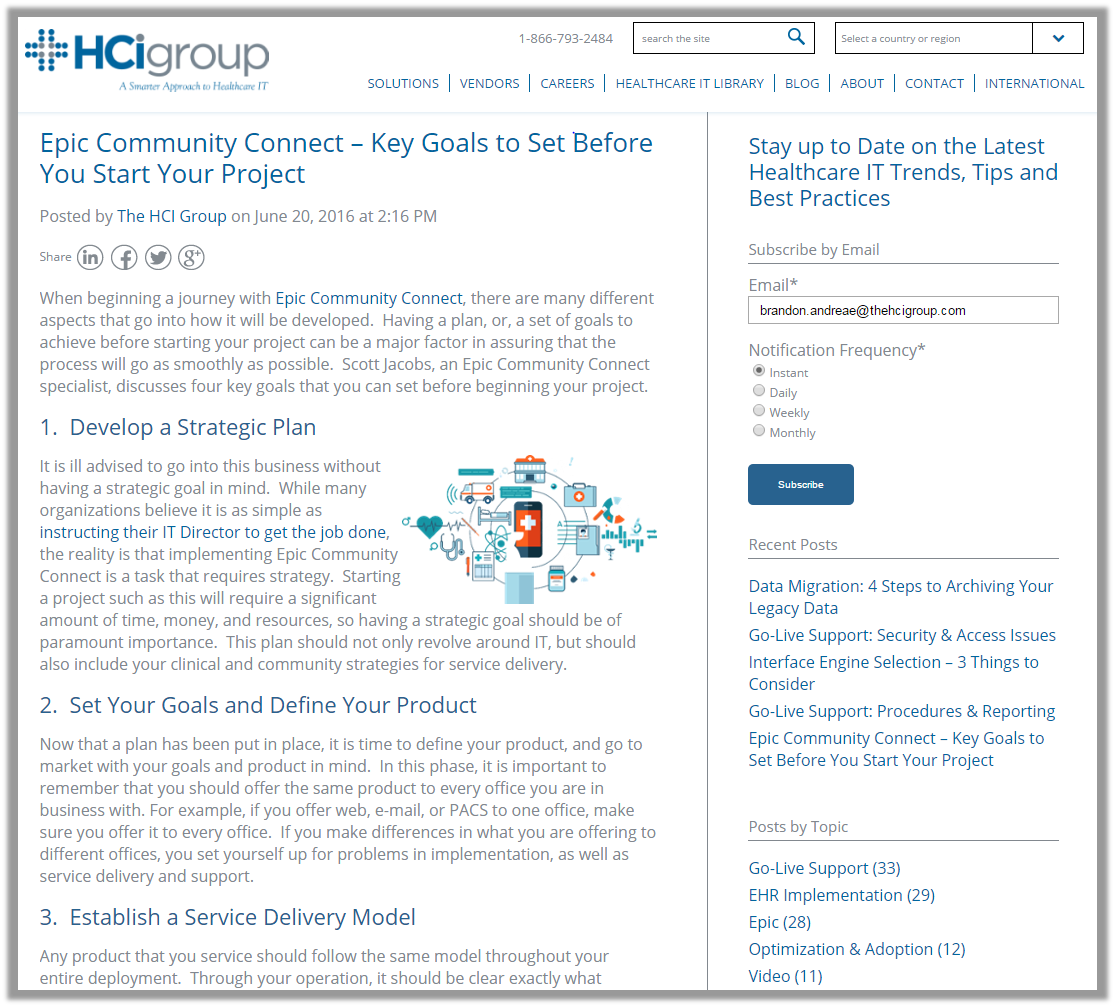 The HCI Group Epic Community Connect Subscribe Blog