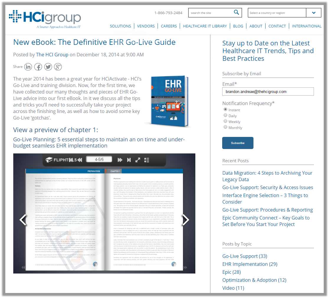 The HCI Group Go-Live eBook Blog Subscribe