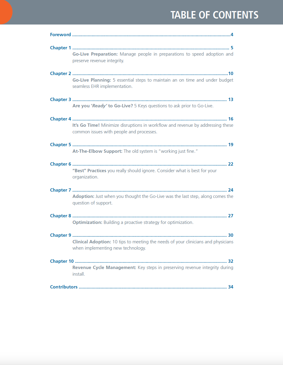 The HCI Group EHR Go-Live eBook Table of Contents