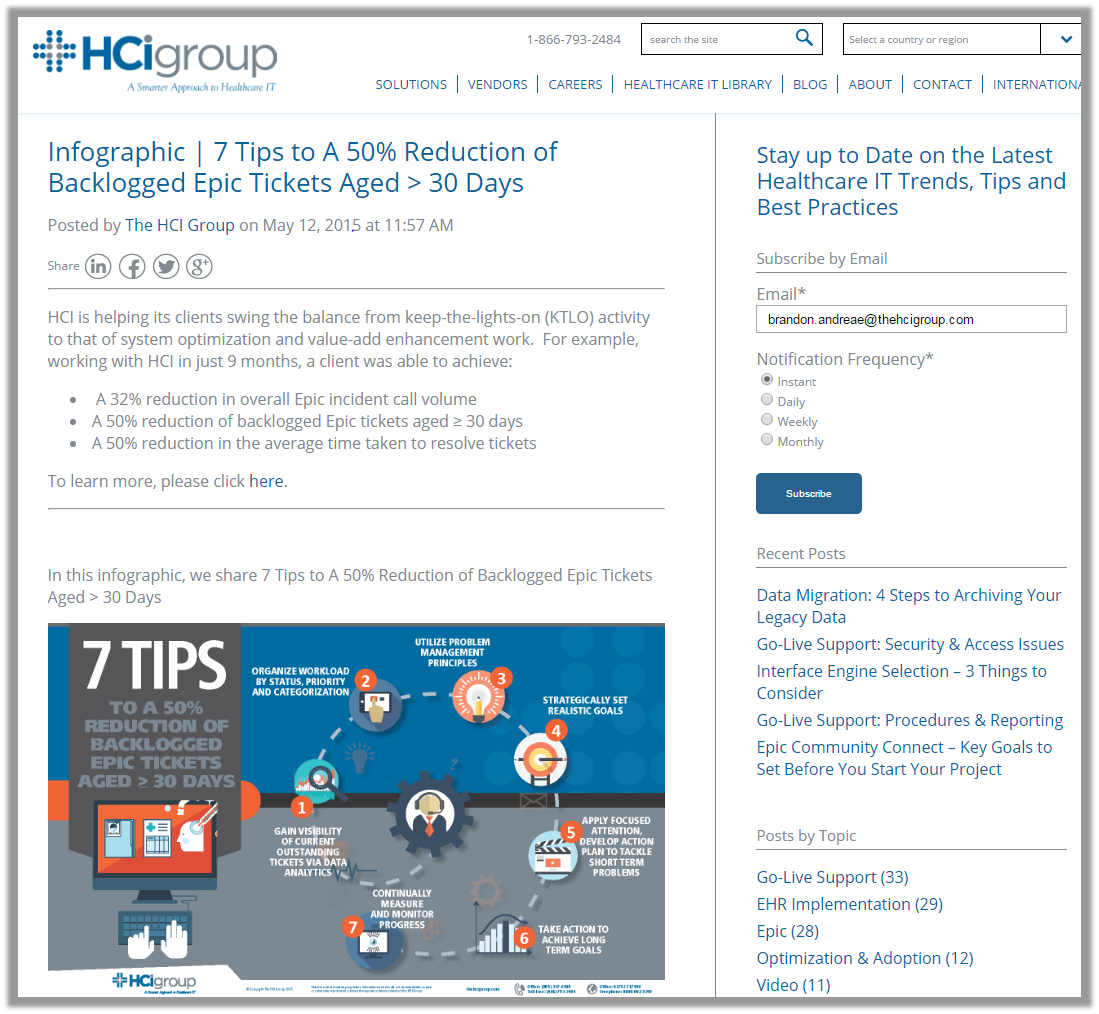 The HCI Group Clinical Service Desk Tickets Infographic Blog Subscribe